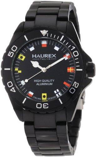 Haurex Italy 7K374UNF - Reloj analógico de cuarzo para hombre con correa de aluminio, color negro