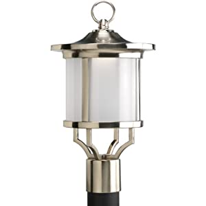 Click to buy LED Outdoor Lighting: Progress Lighting Led Post Lantern with Etched Glass In Brushed Nickel from Amazon!