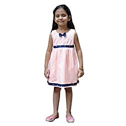 Snowflakes Girls' Peach Casual Frock (with Fly Prints)