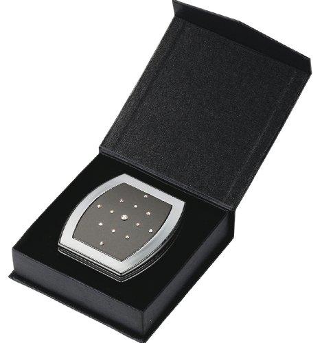 Danielle Rectangular Compact Mirror with Swarovski Elements Pearl Black/Chrome