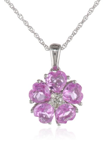 10k White Gold Created Pink Sapphire and Diamond-Accent Flower Pendant