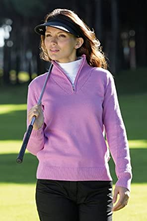 Glenmuir Ladies Paula Supersoft Cotton Ribbed Zip Neck Golf Sweater In 6 Colours - XS - Lagoon