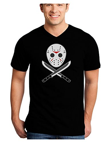 Scary Mask With Machete - Halloween Adult Dark V-Neck T-Shirt - Black - Medium