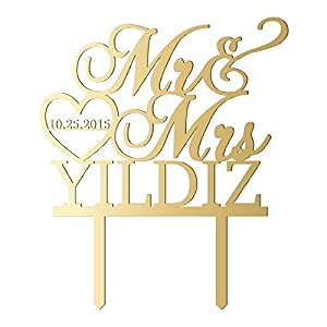 Sugar Yeti Made In Usa Personalized Wedding Cake Topper Mr Heart Mrs With Date 32 Gold Mirror by Sugar Yeti
