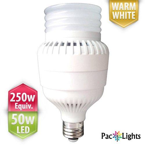 Paclights Ultra250 Performance Led Light Bulb 50-Watt, Warm White, 250W Equivalent Replacement (3500 Lumens), E26 Medium Base With E40 Mogul Adapter