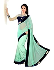 AG Lifestyle Sea Green Net Saree With Unstitched Blouse SAV4213