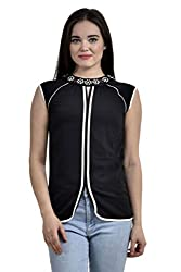 Femninora Black Color Casual Top With Beadwork on Neck