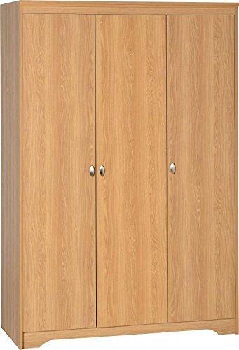 Regent - Armario de 3 puertas chapado con efecto madera de teca