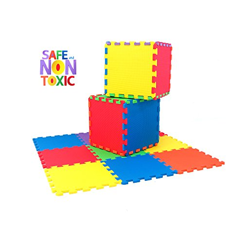 NON-TOXIC Extra Thick 9 Piece Children Play & Exercise Mat - Comfortable Cushiony Foam Floor Puzzle Mat, 6 Vibrant Colors for Kids & Toddlers (Fairy Tail Part 14 compare prices)