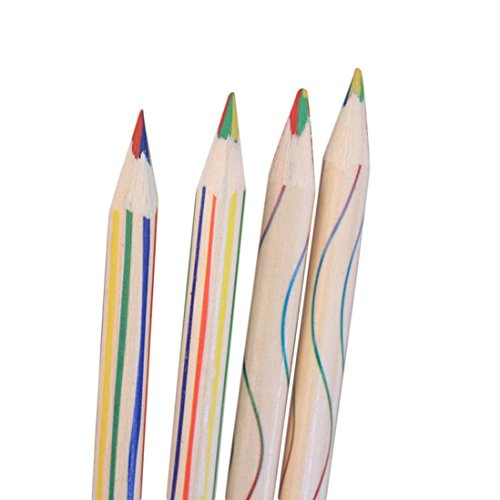 Welcomeuni 10pcs Rainbow Color Pencil 4 in 1 Colored Pencils For Drawing Stationery