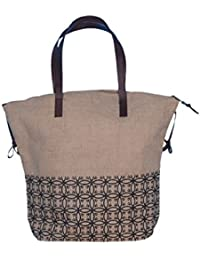 ABV Lunch Bag , Jute Bag, Hand Bag Shopping Bag, Tote Bag, For Brown Color With Zip