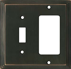 ART DECO STEP Oil Rubbed Bronze Switchplates Outlet Covers, Rocker, GFCI 1 Toggle/Decora