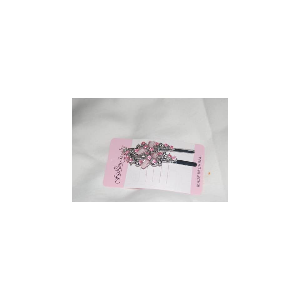 Pink 2 Jeweled 2.5 Silver Bobby Pins Hair Pins 1/2 inch wide Beauty