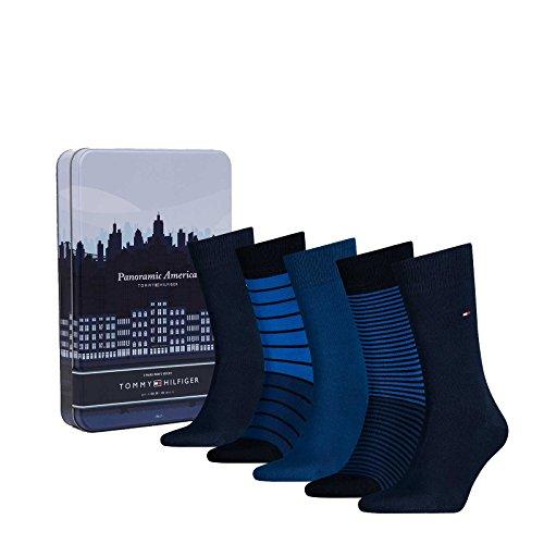 Tommy Hilfiger 5 calzini pair Gli uomini in una scatola regalo, banda - più colori: Colour: Dark Navy | Size: 43-46