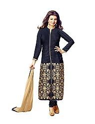 dress materials for women dark blue full embroidered dress material Chanderi & Cotton Satin & Banglori Silk salwar kameez dupatta material