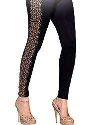 1 stop fashion Black Cotton Lycra Leggings