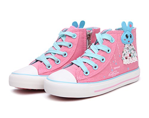 Legend E.C Girls' Cute High Top Canvas Shoes Skateboard Shoes With Lovely Rabbit(8.5, Pink)