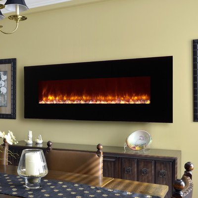 Led Wall Mount Electric Fireplace Insert Style: Pebble