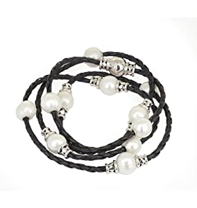 Honora Sterling Silver and Braided Black Leather Wrap Bracelet with White Freshwater Cultured Pearls LB5648WHBL