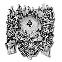 Large Dead Mans Hand Aces And Eights Cowboy Skull Guns Embroidered Biker Patch