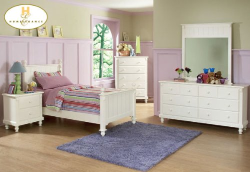 Homelegance Pottery 2 Piece Twin Panel Bedroom Set in White