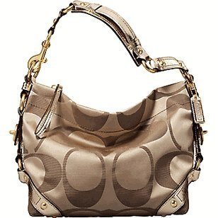 Coach Signature Sateen Mirror Metallic Large Carly Khaki Gold Hobo Handbag