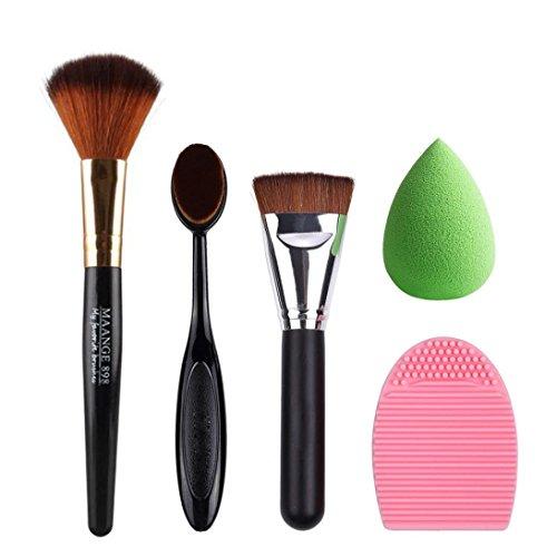 Bolayu 5pcs Pro Make up Sponge Makeup Cleaner Brush Foundation Brushes Black
