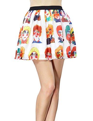 Elf Sack Womens Summer Skirt Short Elastic Waist Clown Printing A-Line Large Size