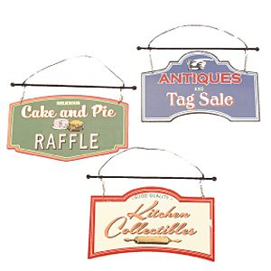 Seasons of Cannon Falls Tin Kitchen Sign Ornaments Wall Decor Set of 3