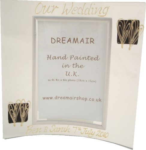 PERSONALISED Wedding Day Gift Pearl/Black Hearts