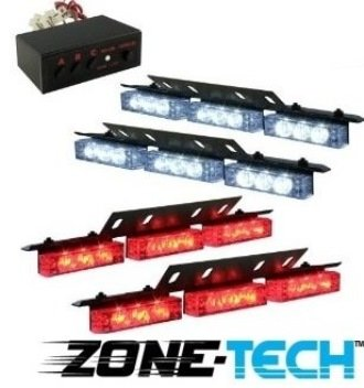 Zone Tech 36 X Ultra Red And White Led Emergency Warning Use Flashing Strobe Lights Bar For Windshield Dash Grille