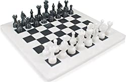 "12"" x 12"" Black & White Marble Chess Set Staunton Comes in Free Velvet Box"