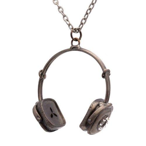 Large Retro Headphones Necklace, Antique Silver