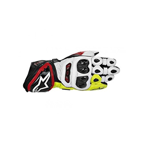 Alpinestars GP Tech Leather Gloves , Gender: Mens/Unisex, Primary Color: Black, Size: Lg, Distinct Name: Black/Red/Flourescent Yellow, Apparel Material: Leather 3556613-136-L