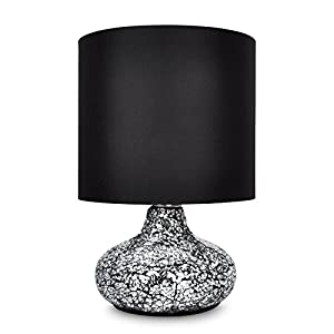 Modern Crackle Glass Mirror Effect Table Lamp with Fabric Shade from MiniSun