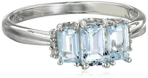 10k White Gold Aquamarine 3-Stone Ring with Diamond-Accent, Size 7
