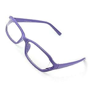 Unisex Clear Lens Glasses Full Rim Eyeglasses Purple