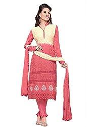 Isha Enterprise Women's Chiffon Dress Material(KFD352-1685_Pink , Cream)