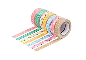 Bundle Monster Adhesive Creative Scrapbooking Craft Plaid Polka Dot Decorative Décor Fabric Tape Mixed Lot - Set 2
