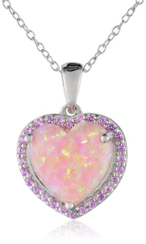 Simulated Opal and Created Pink Sapphire Heart Pendant Necklace, 18