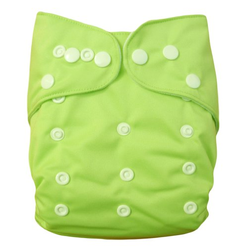 Alva Baby Double Rrows of Snaps Fitted Pocket Washable Adjustable Cloth Diaper with 2 Inserts Neutral Color (Grass Color) B23