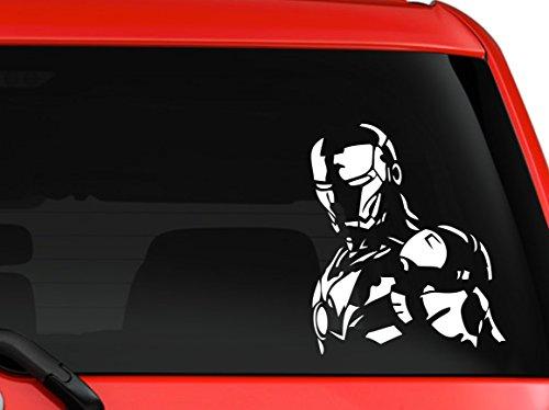 Iron man 3 Avengers Marvel superhero Hulk Captain America car truck SUV window laptop Kitchen wall macbook decal sticker Approx 6 inches white