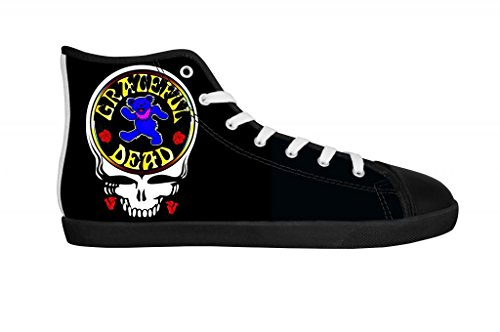 Rock Band Grateful Dead Men's Canvas Shoes Men Black High Top Canvas Shoes-7M US