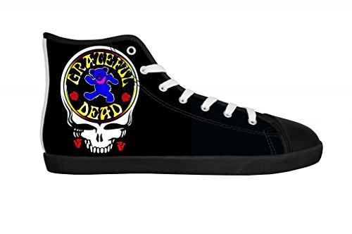Rock Band Grateful Dead Men's Canvas Shoes Men Black High Top Canvas Shoes-7M US