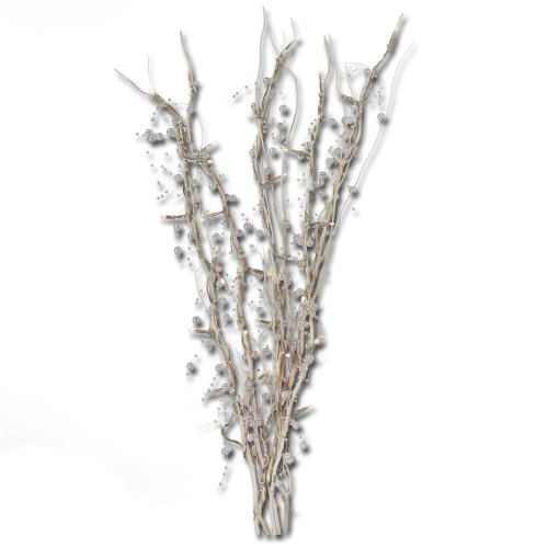 Oddity 94508 Premium White Beaded Branches With White Led'S, Battery Operated, 23-Inch