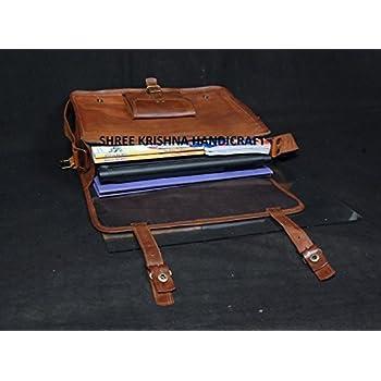 SKH Men's Genuine Vintage Brown Leather Messenger Shoulder Laptop Bag for Upto 15-Inch Laptop