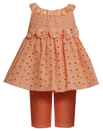 Size-3/6M, Peach, Bnj-9733R, Ruched Neckline Rosette Waist Eyelet Legging Set,Bonnie Jean Baby-Newborn Special Occasion Party Dress front-1015758