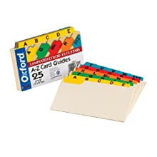 Oxford Laminated Index Card Guides, Alpha, 1/5 Tab, Manila, 3 x 5 Inches, 25 per Set (03514)