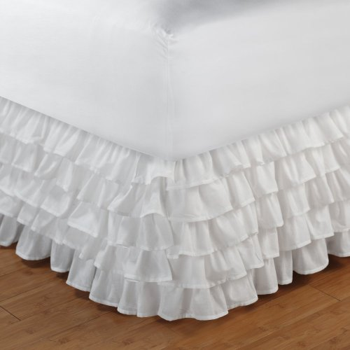 Multi-Ruffle Bed Skirt Size: King, Color: White front-565108