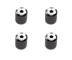 Soccer Ball Sporting Goods Sportsball Tire Rim Wheel Aluminum Valve Stem Caps – Black Color